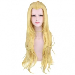 Game Arena Of Valor Cosplay Long Curly Golden Wig Widow's Peak