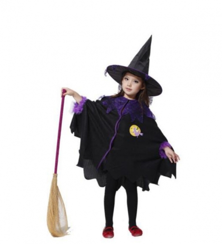 Children's Halloween Costume Witch Dress Enchanter Cloak Performance Clothes For Dance Party