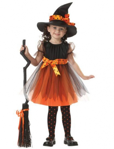 Children's Halloween  Costume Orange Witch Dress  Performance Clothes For Dance Party Costume Ball
