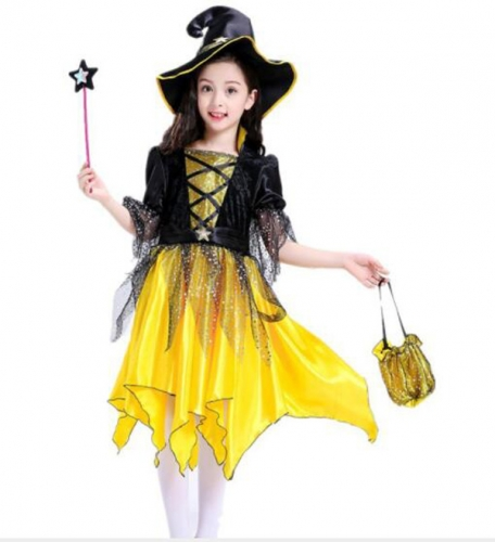 Children's Halloween  Costume Yellow Elf  Dress  Performance Clothes For Dance Party Costume Ball
