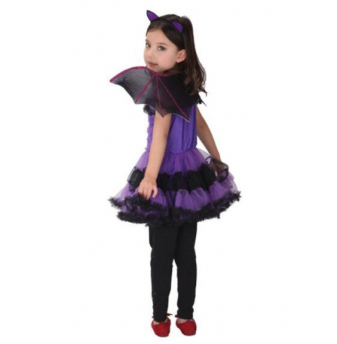 Children's Halloween Costume Purple Bats Dress Witch Spider-Man Performance Clothes For Dance Party