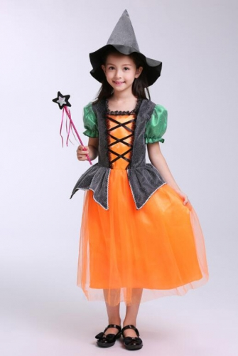 Children's Halloween Costume Pumpkin Witch Dress  Performance Clothes For Dance Party Costume Ball