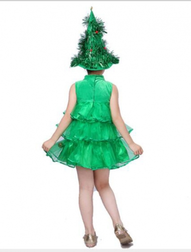 Children's Halloween Green Christmas Tree Costume Cosplay Dress  Performance Clothes For Dance Party Costume Ball
