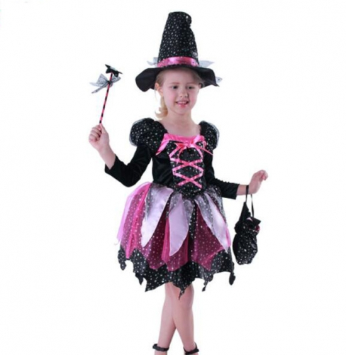 Children's Halloween Costume Witch Dress with Lamp Clothing Performance Clothes For Dance Party