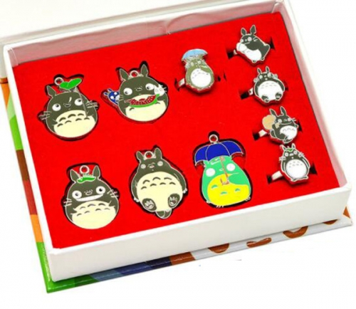 Anime Totoro Set Cosplay Jewelry Set Cartoon  Necklaces Set Keychains Set Wholesale Price Factory Alloy Anime Set