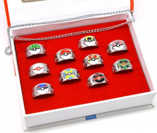Anime Pokemon Ring Set Jewelry Set Cartoon  Necklaces Set Keychains Set Wholesale Price Factory Alloy Anime Set