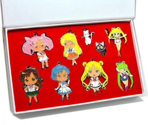 Anime Sailor Moon Set Cosplay Jewelry Set Cartoon  Necklaces Set Keychains Set Wholesale Price Factory Alloy Anime Set