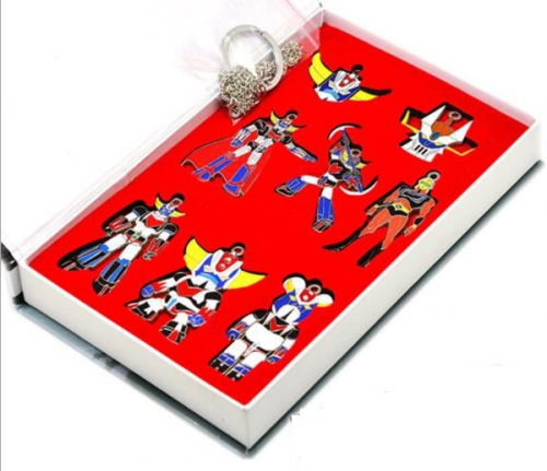 UFO Megazord Pendant Anime Set Cosplay Jewelry Set Cartoon  Necklaces Set Keychains Set Wholesale Price Factory Alloy Anime Set