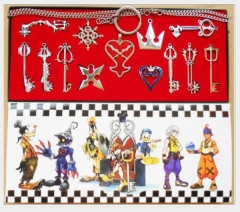 Anime Kingdom Hearts Key Jewelry Set Cartoon  Necklaces Set Keychains Set Wholesale Price Factory Alloy Anime Set 13 pcs