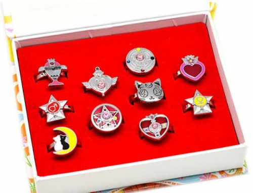 Anime Sailor Moon Ring Set Cosplay Jewelry Set Cartoon  Necklaces Set Keychains Set Wholesale Price Factory Alloy Anime Set
