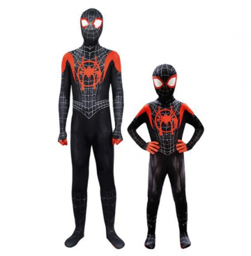 Miles Morales Cosplay Costume Fabric Bodysuit Superhero Halloween Suit For Men Kids With Mask