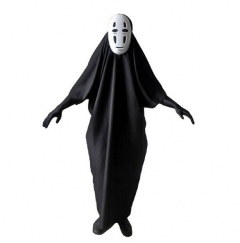 Anime Spirited Away No Face Kaonashi Cosplay Costume with Mask+Clothes+Gloves