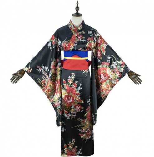 Anime Lolita Cherry Sakura Flower Printing Kimono Costumes Fancy Dress