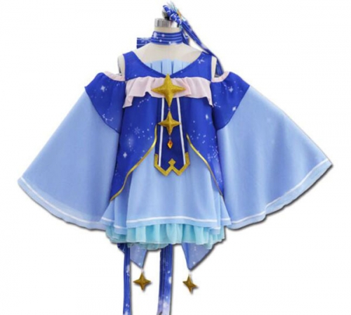Adult Hatsune Miku Halloween Cosplay Costume Blue Lolita Dres For Dancing Party