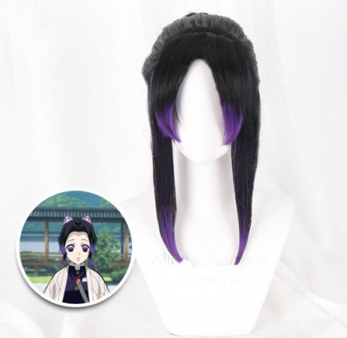 Anime Demon Slayer Kimetsu No Yaiba Cosplay Wigs Mitsuri Kanroji Synthetic Hair Halloween Party Women Wig Black Purple