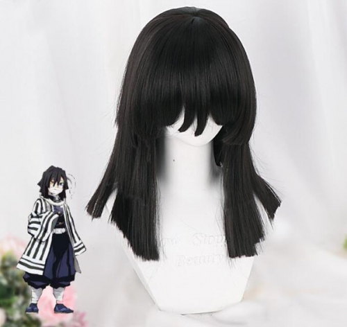 Anime Demon Slayer Kimetsu No Yaiba Cosplay Wigs Mitsuri Kanroji Synthetic Hair Halloween Party Women Wig Black