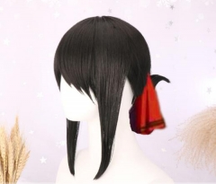 Anime Dark Black Straight Wig Low Ponytail Cosplay Wig Halloween Cos Wig Christmas Gift