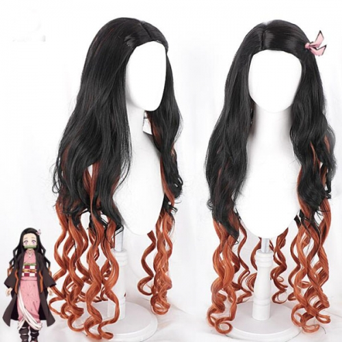 Anime Demon Slayer Kimetsu No Yaiba Cosplay Wigs Mitsuri Kanroji Synthetic Hair Halloween Party Women Wavy Curly Wig