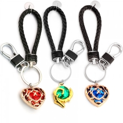 The Legend of Zelda Skyward Sword Heart Crystal Keychain Simulated Sapphire Ruby Big Heart Pendant Anime Jewelry