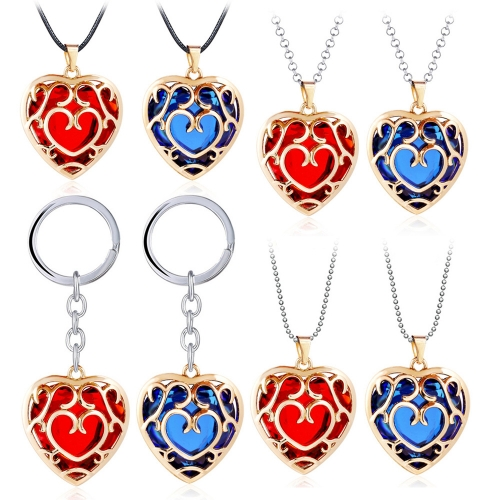 The Legend of Zelda Skyward Sword Heart Crystal Necklace Simulated Sapphire Ruby Big Heart Pendant Keyring Anime Jewelry
