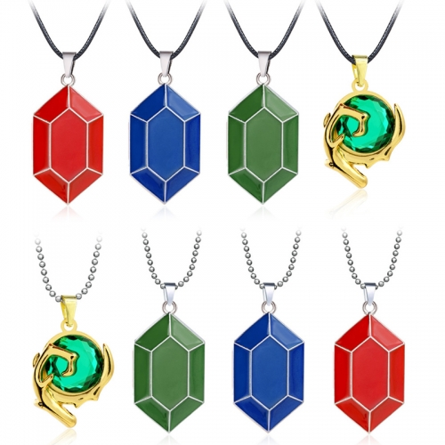 The Legend of Zelda Skyward Sword Heart Crystal Necklace Simulated Sapphire Ruby Big Heart Pendant Anime Jewelry
