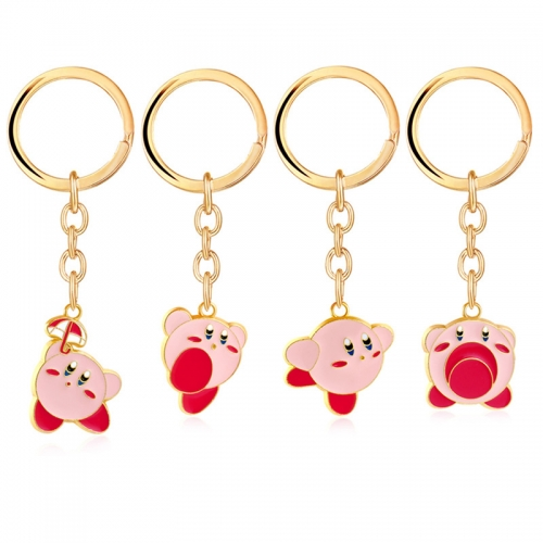 Anime Kirby Keychains Gold Plated Hoshi no Kirby Pendat Key Rings Jewelry