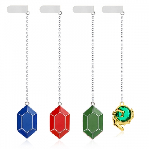 The Legend of Zelda Skyward Sword Heart Crystal Book Mark Simulated Sapphire Ruby Big Heart Pendant Anime Jewelry
